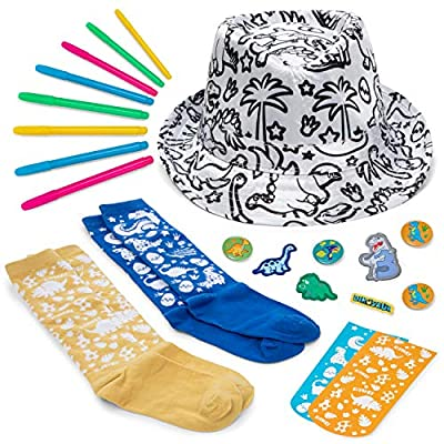 Color your own DINOSAUR Fedora & Socks Arts and crafts birthday gifts for boys, girls ages 3-4-5-6-7-8-9-10-11-12 years old,Kids craft toys art projects activities diy gift kit,teen age year kid kits