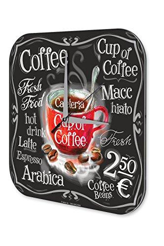 LEotiE SINCE 2004 Wanduhr mit geräuschlosem Uhrwerk Dekouhr Küchenuhr Baduhr Küchen Uhr Tasse Kaffee Dekouhr Vintage Nostalgie