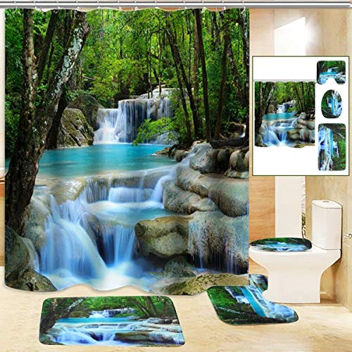 """Fashion_Man 4PCS/Set 3D Waterfall Forest Waterproof Shower Curtain Scenery Polyester Bath Curtain Natural Landscape Bathroom Rugs Toilet Lid Cover Bathroom Decor +12 Hooks, 72""""x72"""", Green"""