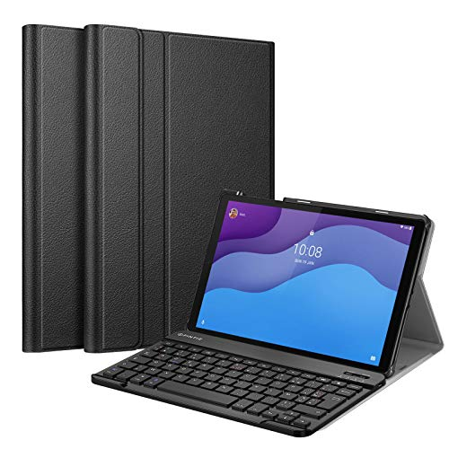 Fintie Funda de teclado para tablet Lenovo Tab M10 HD (2ª generación) TB-X306, [French AZERTY] Funda extraíble con teclado inalámbrico multiángulo, color negro