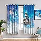 Frozen Elsa Decor Cortinas por 106,7 x 137,2 cm, cortinas de bloqueo de luz con forro