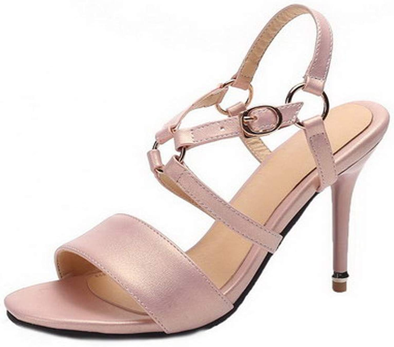 AllhqFashion Women's Open-Toe High-Heels Pu Solid Buckle Sandals, FBULD015596