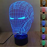 SmartEra Illusion optique 3D Casque Iron Man Panel Modèle Lighting Night 7 changement de...