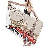 Toalla de Playa de Microfibra de Gran tamaño,Francia Paris Vintage Retro,Toalla de baño Absorbente Suave y Ligera para Nadar, Deportes, Piscina, Gimnasio, Camping (52 × 32 Pulgadas)