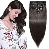 Extension a Clip Cheveux Naturel Rajout Vrai Cheveux Humain Maxi Epaisseur - 100% Remy Hair - 8 Pcs Clip in Human Hair Extensions Double Weft (#1B NOIR NATUREL, 60cm-170g)