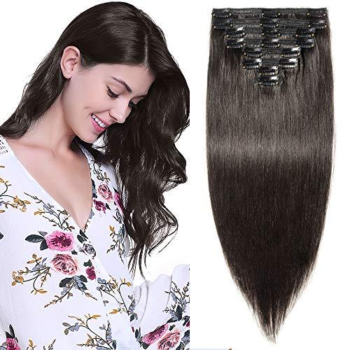 25CM Extension a Clip Cheveux Naturel Noir Premium Maxi Epaisseur - Rajout Remy Hair Vrai Cheveux Humain - 8 Pcs Double Weft (#1B Noir Naturel, 25cm-110g)