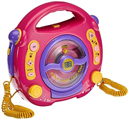 Idena 6805340 - Kinder CD-Player Singalong mit 2 Mikrofonen und LED-Display, rosa