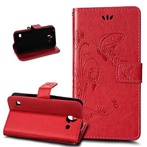 Kompatibel mit Huawei Ascend Y550 Hülle Lederhülle Handyhülle,Prägung Groß Schmetterling Blumen PU Lederhülle Flip Hülle Cover Ständer Wallet Hülle Schutzhülle für Huawei Ascend Y550,Rot