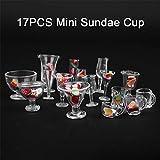 17 Stück Puppenhaus-Miniatur-Tassen, klare Teetassen, Weinbecher-Set, Bar, Trinken, Küchenzubehör