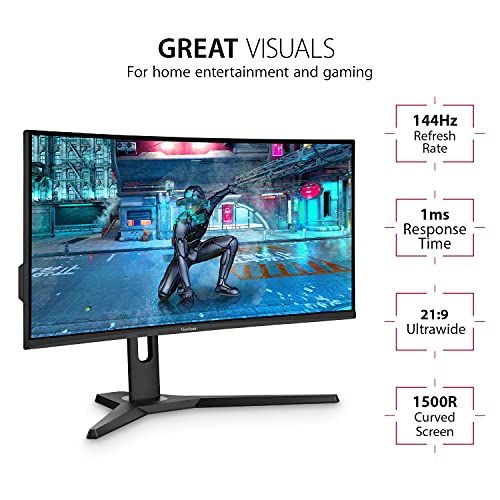 ViewSonic VX3418-2KPC 34 Inch 21:9 UltraWide WQHD 1440p 144Hz 1ms Curved Gaming Monitor with Adaptive-Sync Eye Care HDMI and Display Port