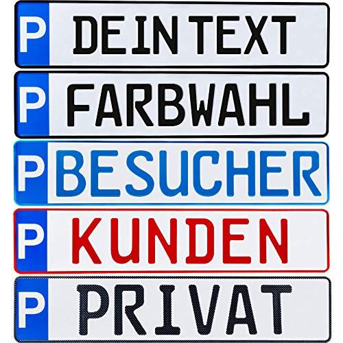 Parkplatz Kennzeichen 1 Stück P-Kennzeichen Parkplatzschild individuell Wunschtext / Farbe / Bohrung / Markierung von Parkplatz Standplatz Kunden Besucher Privat Wunschprägung (1. Wunschprägung)