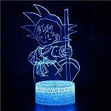 Lámpara de noche de ilusión 3D para KidsDragon Ball Goku Smart Toy Lámpara USB de carga de escritorio escritorio dormitorio salón decoración interior, con control remoto