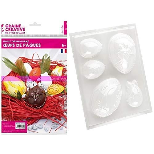 Graine Creatieve bakvorm, thermisch gevormd, 5 paaseieren, 6-10 cm, voor gips, chocolade, om te vullen en te decoreren