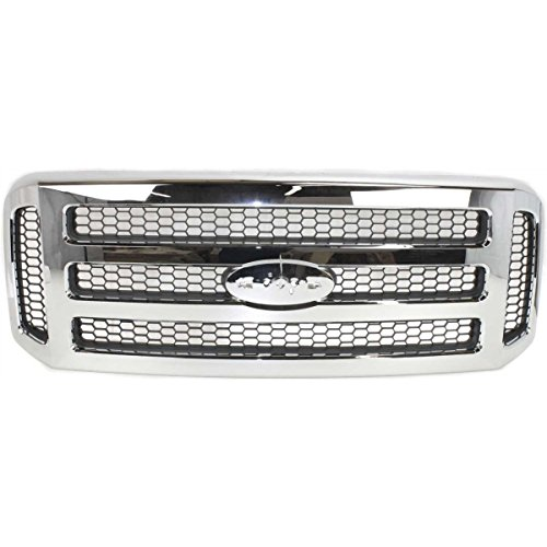 Make Auto Parts Manufacturing Front Chromed Frame Grille With Gray Insert For Ford F-Series Super Duty 2005 2006 2007 XLT-Lariat or Amarillo Models - FO1200456