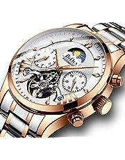 腕時計、機械式時計 メンズ ウォッチ ビジネス 日付 自動 ステンレススチール 中空 フライホイール ローマ数字ダイヤル 防水 時計
