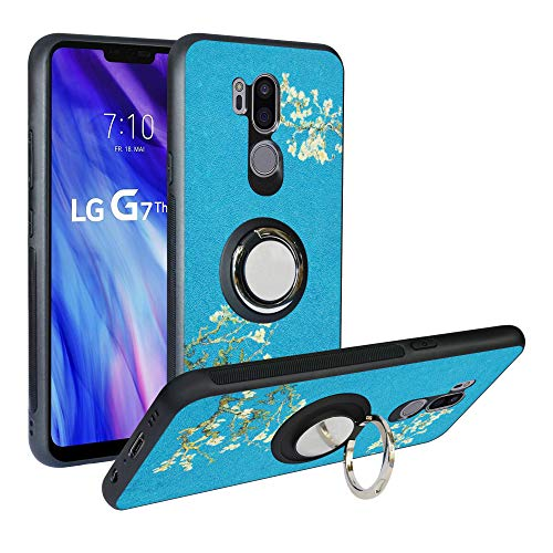 Funda para LG G7 ThinQ,Fashion Design [Antigolpes] con 360 Anillo iman Soporte, Resistente a los arañazos TPU Funda Protectora Case Cover para LG G7 FIT/G7 One/G7+ ThinQ,Flower