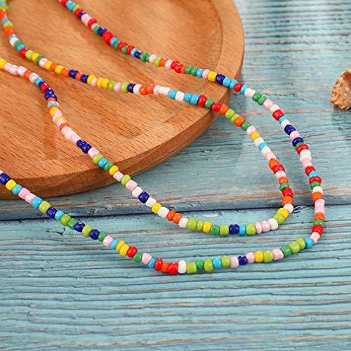 Weisin handgemachte farbige Perlen Halskette geometrische Runde Double verstellbare Pullover Kette kreative Weihnachten Geburtstag Schmuck Geschenk für Frauen