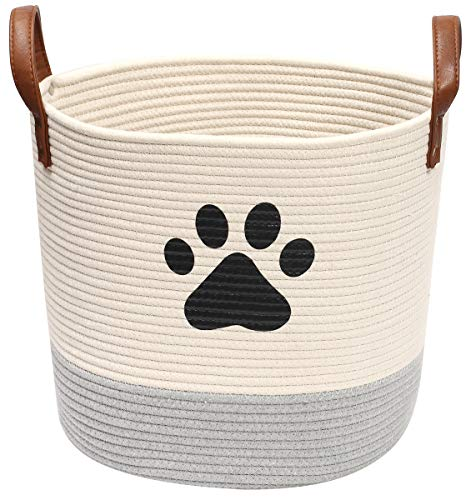 Morezi Rund Baumwollseil Hundespielzeugkorb, Aufbewahrungskorb für Haustierspielzeug mit Griff, in dem Tierbedarf und Haustierspielzeug aufbewahrt werden,Beige Grau