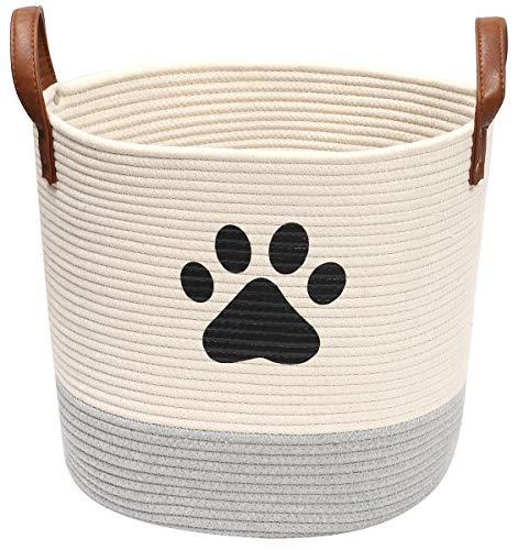 Spielzeugkorb für Hunde, aus Baumwollseil, ideal für die Organisation von Haustierspielzeug, Decken, Leinen, Beige und Grau