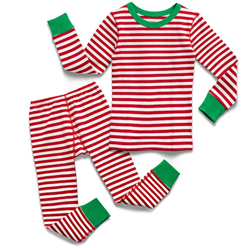 Mightly Boys and Girls' Pajamas | Organic Cotton Fair Trade Certified Footless PJs for Toddlers and Kids, Red Stripe, 6