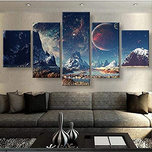 MMSY Prints On Canvas 5 Piece Wall Art Print Canvas Painting Home Decor 5 Panel Canvas Pictures Stretched And Framed Artwork Mountains and Space Landscape 5 Pieces Large Canvas 5 Pieces Canvas