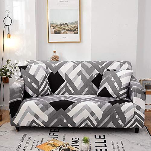 WXQY Sala de Estar geométrica Todo Incluido Funda de sofá Moderna sección elástica Funda de sofá de Esquina Funda de sofá A14 3 plazas