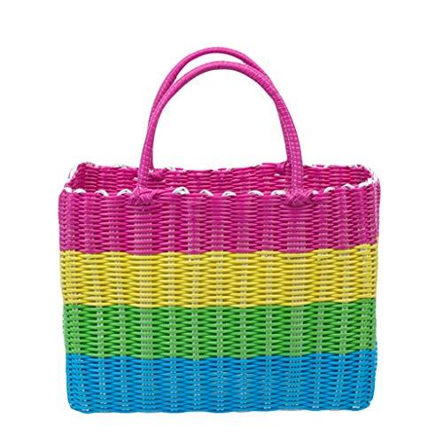 Storage Basket Bath Wash Basket Bath Basket Plastic Portable Vegetable Shopping Storage Basket 34 * 24 * 14cm ZHJING (Color : Powder handle)