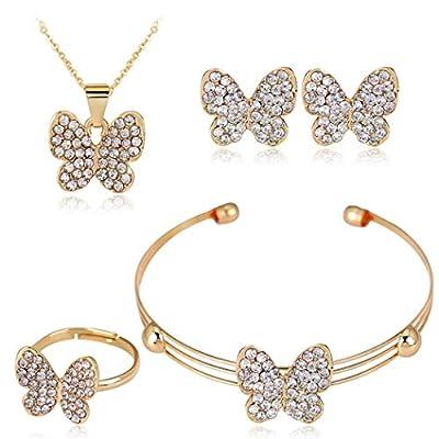 Benlet Women Personality Earrings Elegant Bracelet Rhinestone Necklace Ring Set Jewelry Jewelry Sets