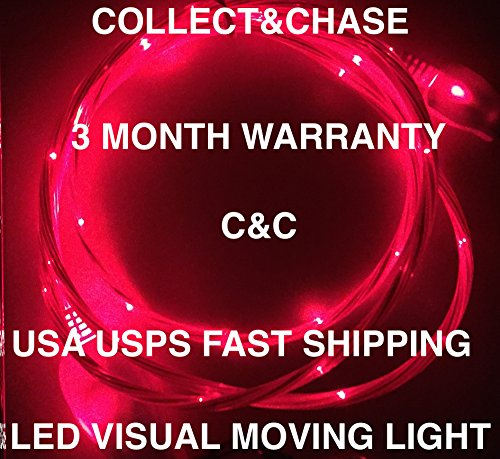 C&C FLOWING/LED 3FT Light Charger cable For Samsung Galaxy s3,s4,s6, note 2,4,5, LG, Motorola HTC evo MICRO USB (RED)