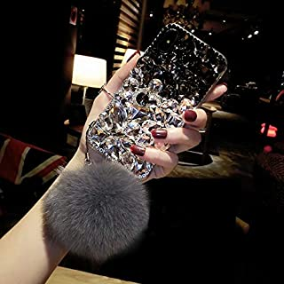 iPhone XS Max Diamond Case, Luxury Lady Mix Color Rhinestone Stone Jewelled Clear TPU Case for iPhone XS Max 6.5-inch with Fur Ball (Black)