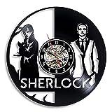 LED de colores Reloj de pared de vinilo gato Reloj de pared de vinilo Sherlock Holmes, diseño moderno, tema de película de detectives, pegatina 3D, reloj de vinilo Vintage, reloj d