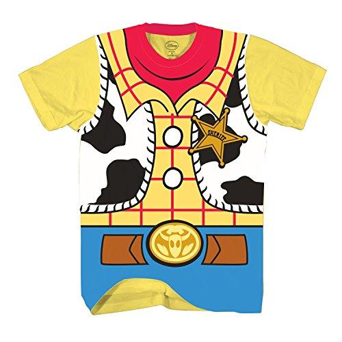 Toy Story Sheriff Woody Cowboy Costume Adult T-Shirt (XXL, Woody)