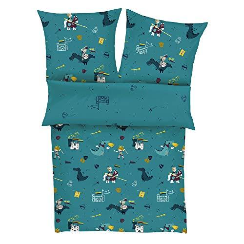 s.Oliver Bettwäsche Ritter 135x200 cm - Kinderbettwäsche Petrol 100% Baumwolle, hochwertiger Makosatin, 2 teiliges Set aus Bettwäsche 135x200 cm und Kissen 80x80 cm, Reißverschluss