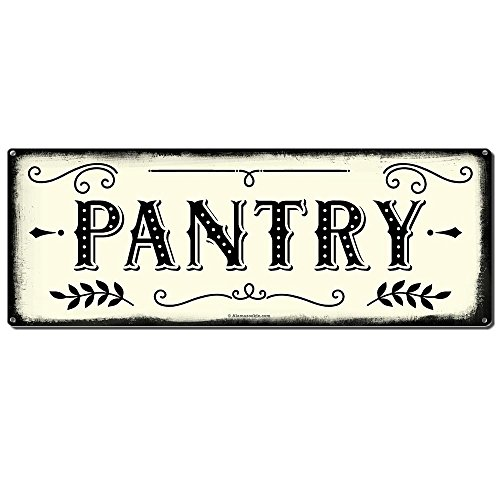 Pantry, 6 x 16 Inch Metal Farmhouse Sign, Rustic Vintage Wall Decor for Home, Restaurant, Cafe, Diner and Coffee Shop, Farm Theme Gifts for Farmers, Ranchers, Animal Lovers, Housewarming, RK3009 6x16