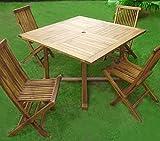 Set de mesa y sillas de jardín madera de teca, 1 mesa, 4 plazas
