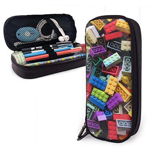 Juguetes de bloques de construcción de colores lindo lápiz caso cuero gran capacidad doble cremallera bolsa lápiz lápiz bolsa titular caja para la escuela oficina niñas niños adultos