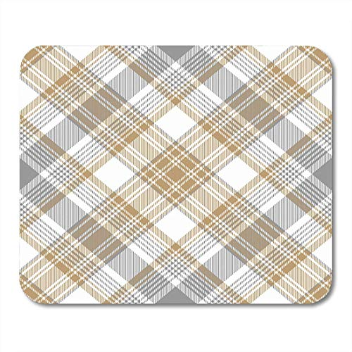 AOHOT Mauspads Beige Pattern Platinum Gold Tartan Diagonal Gray Plaid Abstract Check Mouse pad 9.5