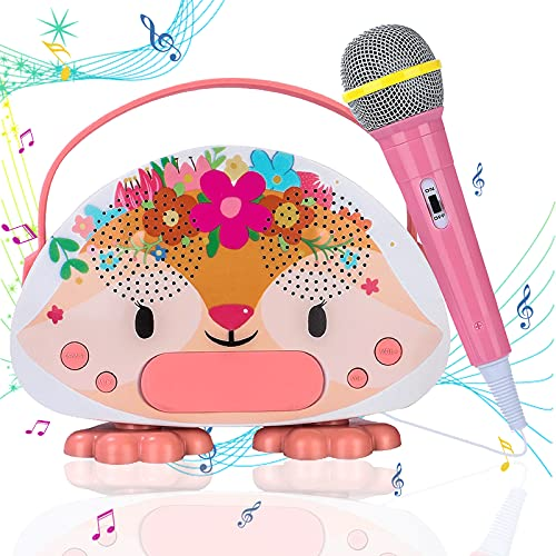 Qyson Kids Karaoke Machine with Toy Microphone for Toddler Girls Boys Over 3 Yrs Rechargeable Children Karaoke Speaker for Singing Bluetooth/USB/Micro SD Connection