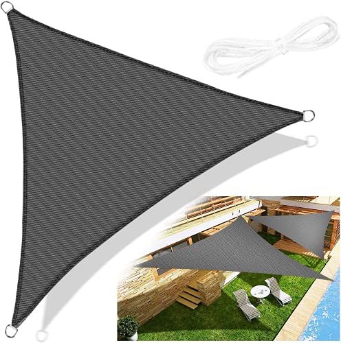 Emooqi Voile d'Ombrage Triangle, Voile d'Ombrage Toile d Ombrage HDPE Triangulaire 5x5x5M Rayons UV Résistante Aéré Voile Ombrage Rayons UV pour Jardin Terrasse Camping -Gris Foncé
