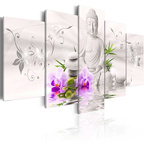 murando - Cuadro en Lienzo Buda Zen SPA 200x100 cm Impresión de 5 Piezas Material Tejido no Tejido Impresión Artística Imagen Gráfica Decoracion de Pared b-A-0020-b-n