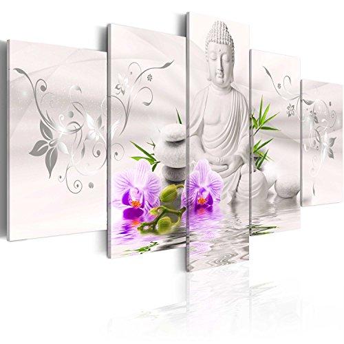 murando - Cuadro en Lienzo 200x100 cm Buda - Abstracto Impresión de 5 Piezas Material Tejido no Tejido Impresión Artística Imagen Gráfica Decoracion de Pared Flores b-A-0020-b-n