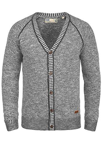 !Solid Thiamin Herren Strickjacke Cardigan Feinstrick Mit V-Ausschnitt und Knopfleiste Aus 100% Baumwolle, Größe:XL, Farbe:Dark Grey (2890)