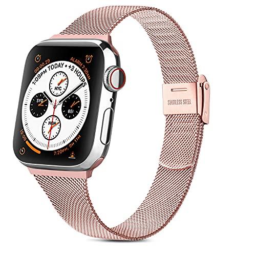 WAIYI Correa Metal Compatible con Apple Watch 38mm 40mm 42mm 44mm,Pulsera de Repuesto Hebilla Ajustable Correa Fina de Acero Inoxidable para iWatch Series SE 6 5 4 3 2 1(42mm/44mm, Rosa)