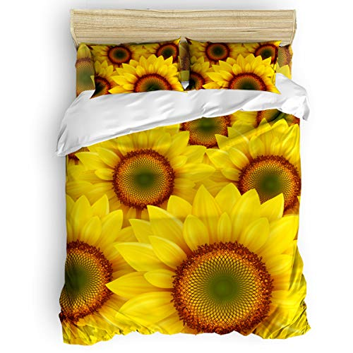 BABE MAPS Sunflower 4 Piece Duvet Cover Set California King Ultra Soft Microfiber Bedding Set for Unisex Kids Toddler Teen Easy Care, Bright Yellow Sunflowers Romantic Art