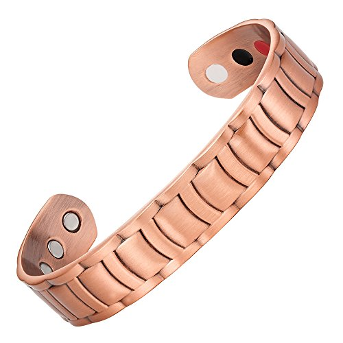 Willis Judd Men's Pure Copper Magnetic Therapy Ajustable Bracelet Bangle (Style 2)