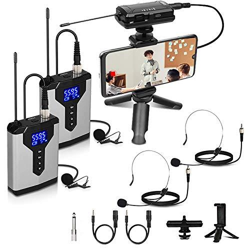 Depusheng Sistema de micrófono de solapa inalámbrico Micrófono de solapa con petaca recargable y receptor Micrófono inalámbrico para cámaras SLR
