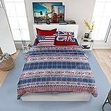 Juego de funda nórdica de banderas | funda + fundas de almohada estampadas | 100% algodón | Fantasía banderas Flag | Made in Italy – 1 plaza