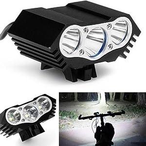 Lámpara de la Bici del búho, LED Frontal para Manillar de Bicicleta + Paquete + Cargador de la batería, luz Ligera Que acampa 7500 Lumen 3 LED (Negro)