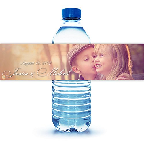 """100 Personalized Engagement Photo Water Bottle Labels 8""""X2"""""""