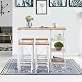 UNI FAM 5 Piece Counter Height Dining Table Set, Industrial Style Bar Pub Table with 4 Backless Bar stools for Home, Oak Finish
